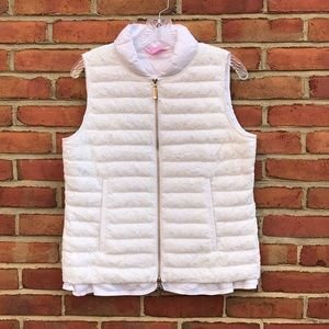 Lilly Pulitzer White Cora Lace Puffy Vest
